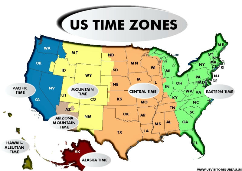 Time Zones - Us time zone map with times